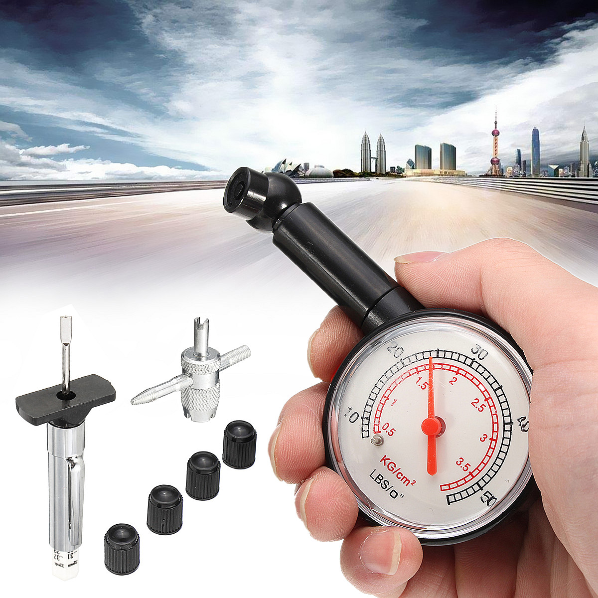 Car Auto Tire Tyre Air Pressure Depth Gauge Tester Kit Valve Tool And 4 Dust Caps