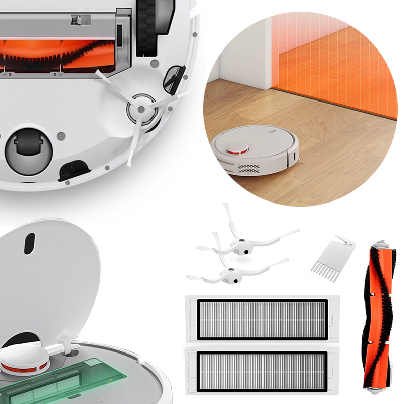 6pcs Cleaning Robot Accessories Main Brush + 2 Side Brushes + 2 Filters For Xiaomi Mi Robot Vacuum Cleaner