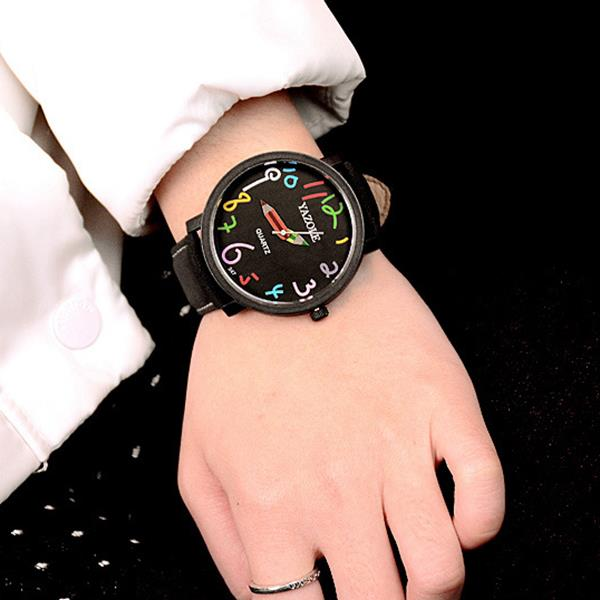 YAZOLE 347 Fashion Leather Strap Women Quartz Watch Casual Colorful Number Pencil Pointer Watch