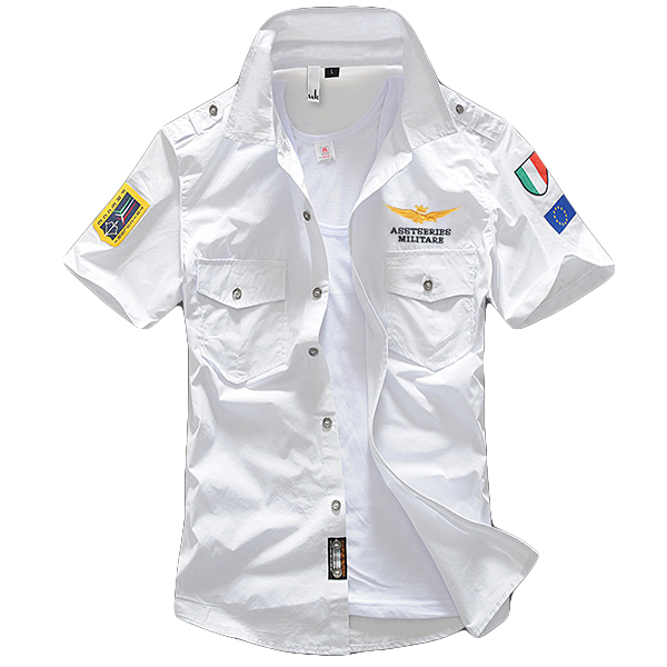 ASSTSERIES Embroidery Epaulets Military Men Work Shirts