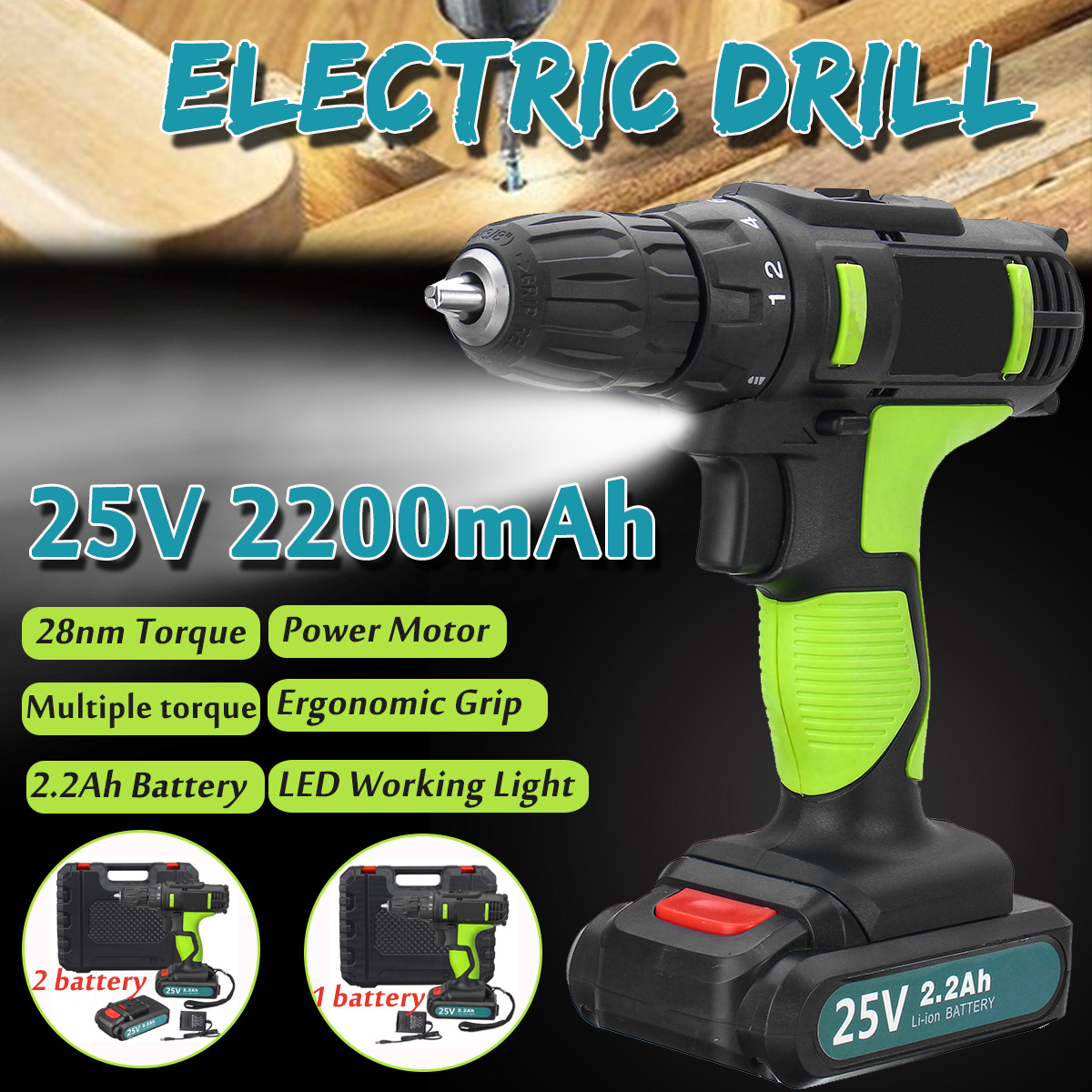 25V 2.2Ah Lithium Battery Electric Screwdriver Power Drills 330W Motor 50Hz/60 Hz