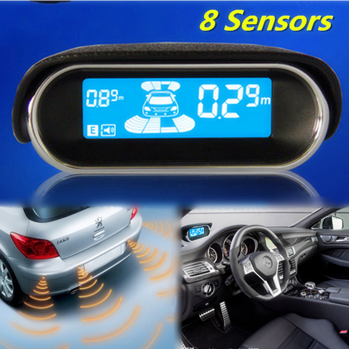Vehicle Parking Sensors Car Reverse Backup Radar 8 Eight Sensor Circuit For Security System With Display