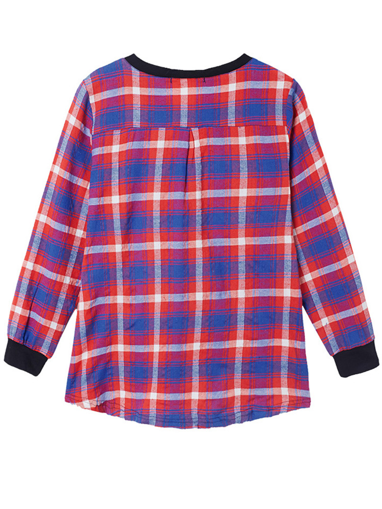 Plus Size Women Plaid Long Sleeve Blouse Patchwork Shirt