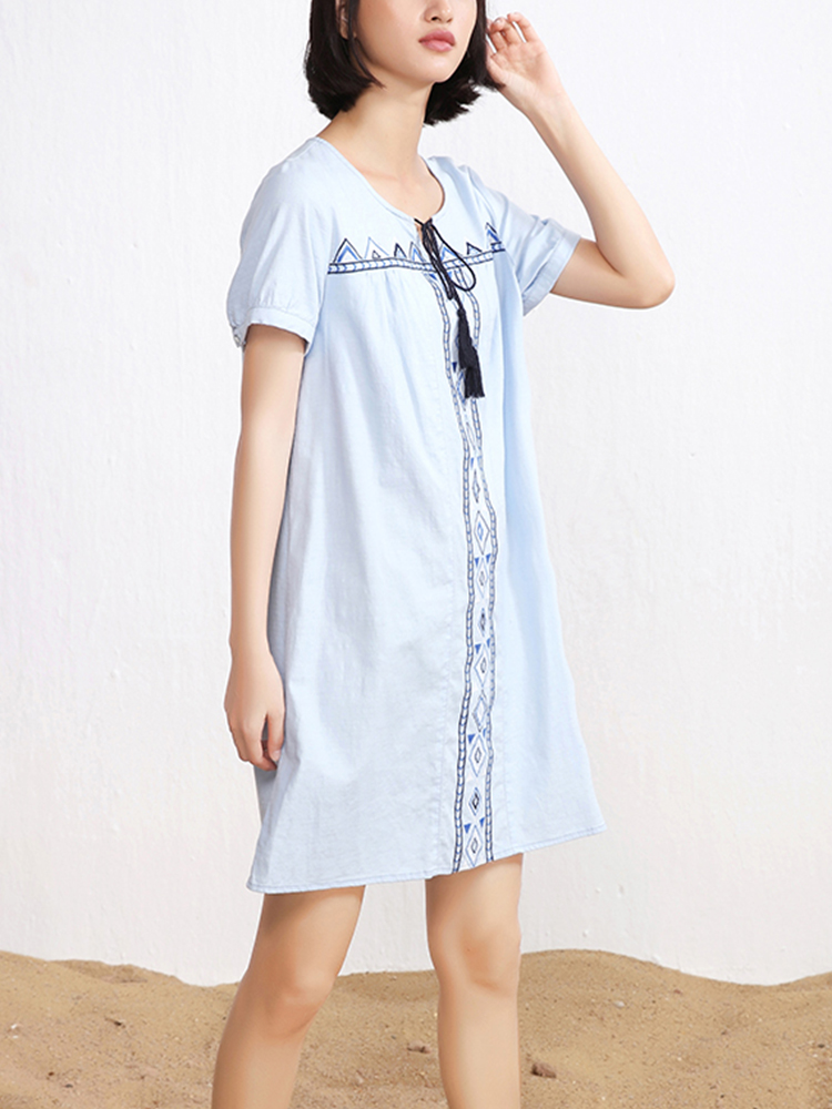 Embroidery Short Sleeve Bandage Cotton Dress