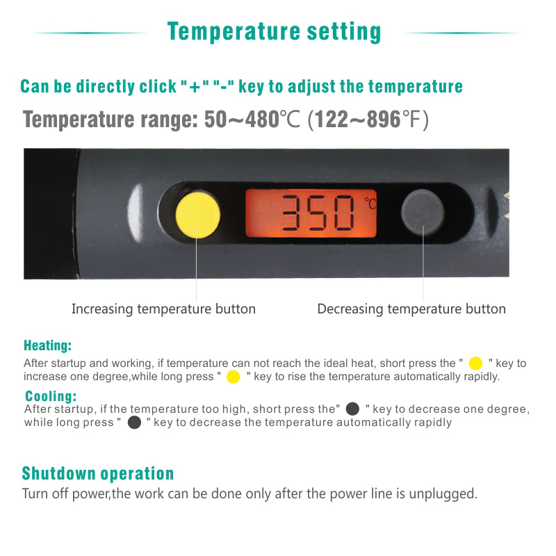 CXG C60W Digital Electric Soldering Iron LCD Backlight Adjustable Temperature with Power Swtich