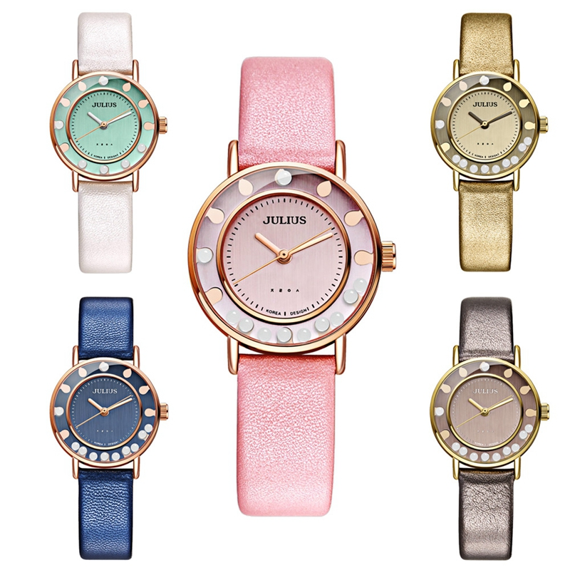 JULIUS 927 Flowing Bead Dial Fashion Ladies Student Quartz Wrist Watch