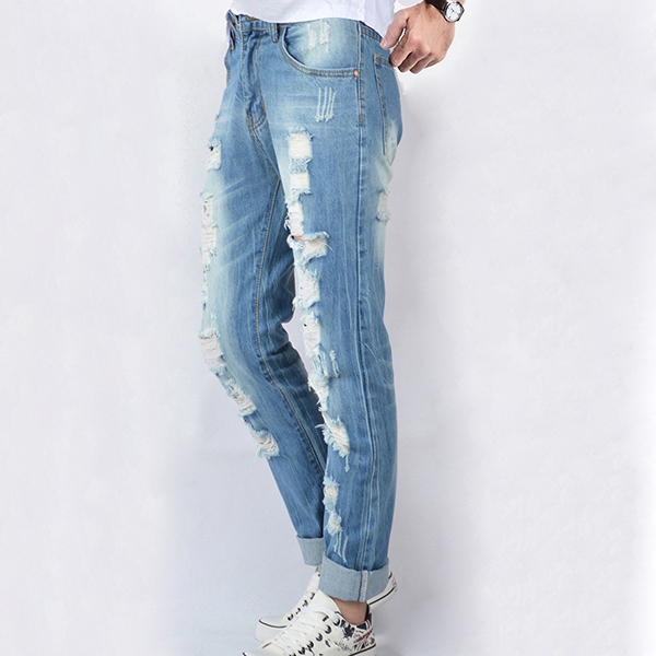 Summer Fashion Straight Leg Ripped Jeans Beggar Long Denim Pants for Men