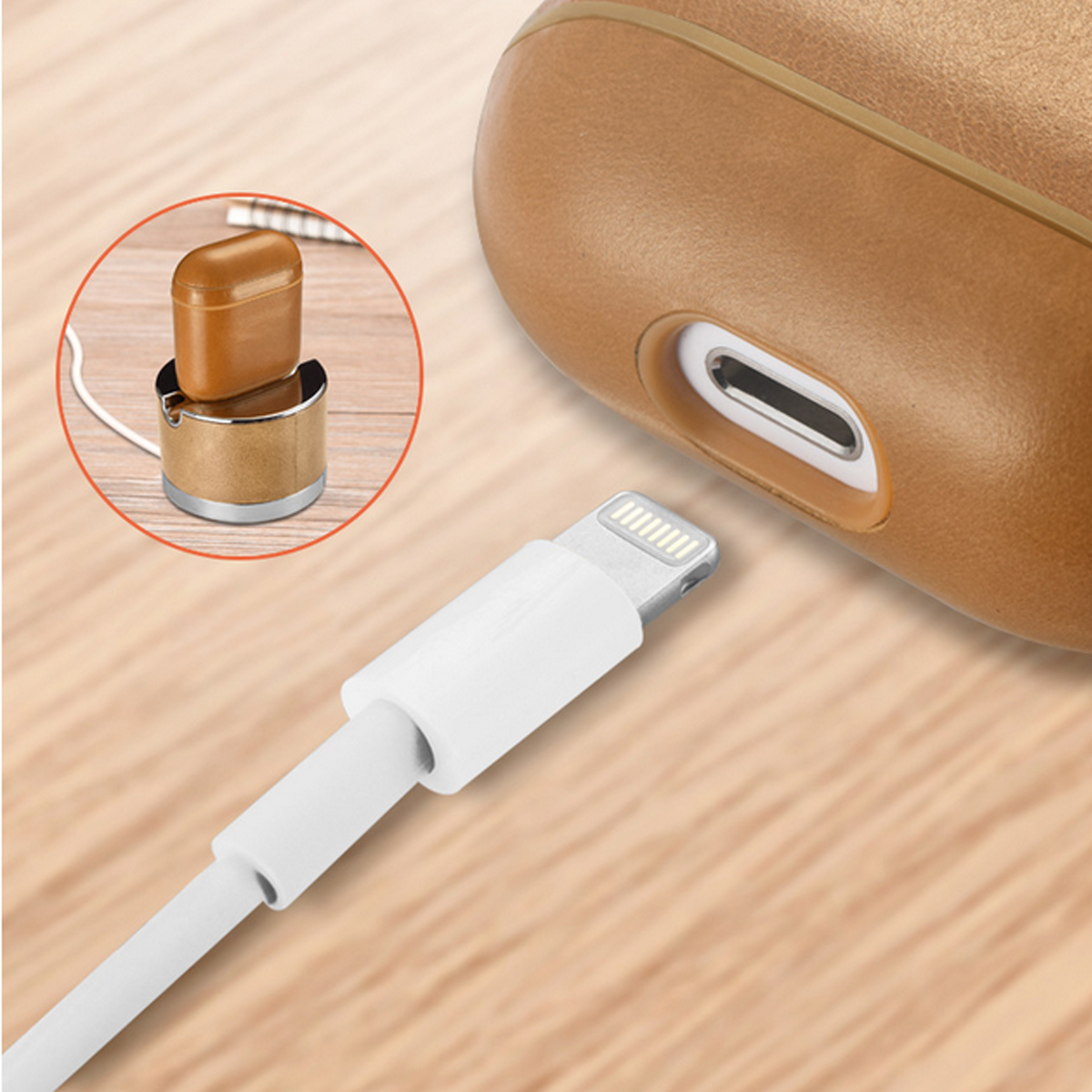 Genuine Leather Shockproof Earphone Protective Case For Apple AirPods