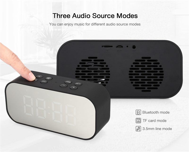 LEORY BT501 Wireless bluetooth 5.0 Speaker Dual Alarm Clock LED Display Stereo TF Card Mic Speaker