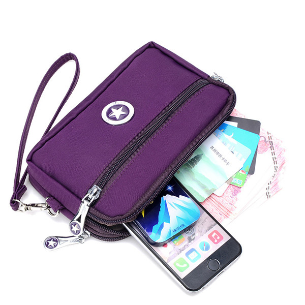 2 Interlayers Zipper Clutches Bags Women Nylon Waterproof Coin Bags 5.5'' Phone Purse For Iphone 7P