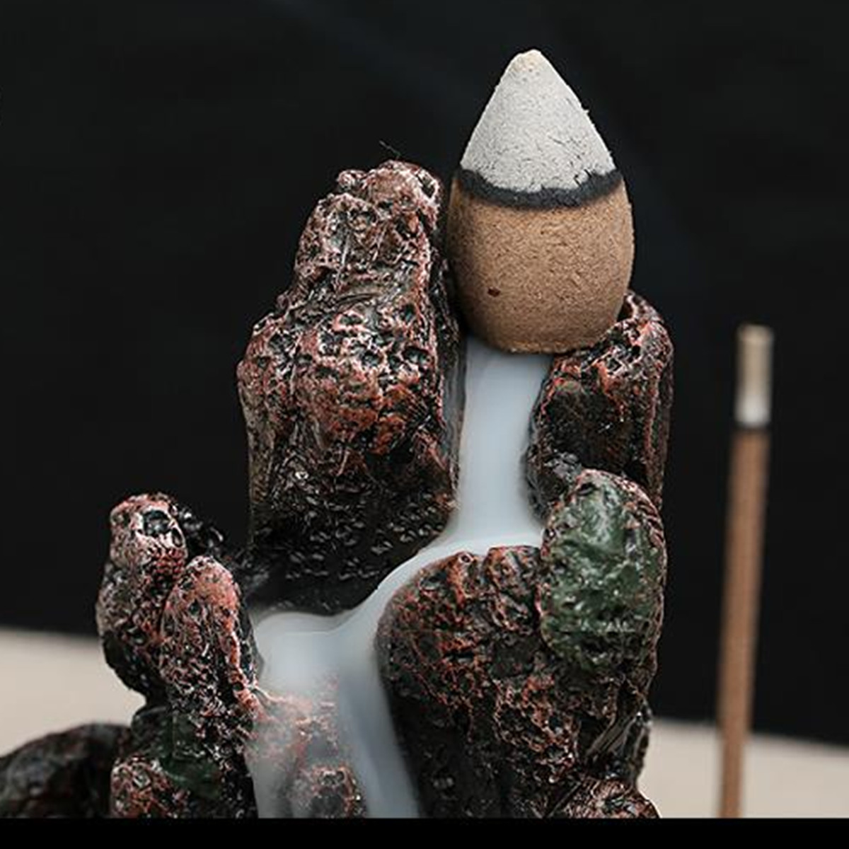 Backflow Incense Cone Burner Incense Stick Coil Holder Rockery Mountain Stream Fragrant Censer Decor