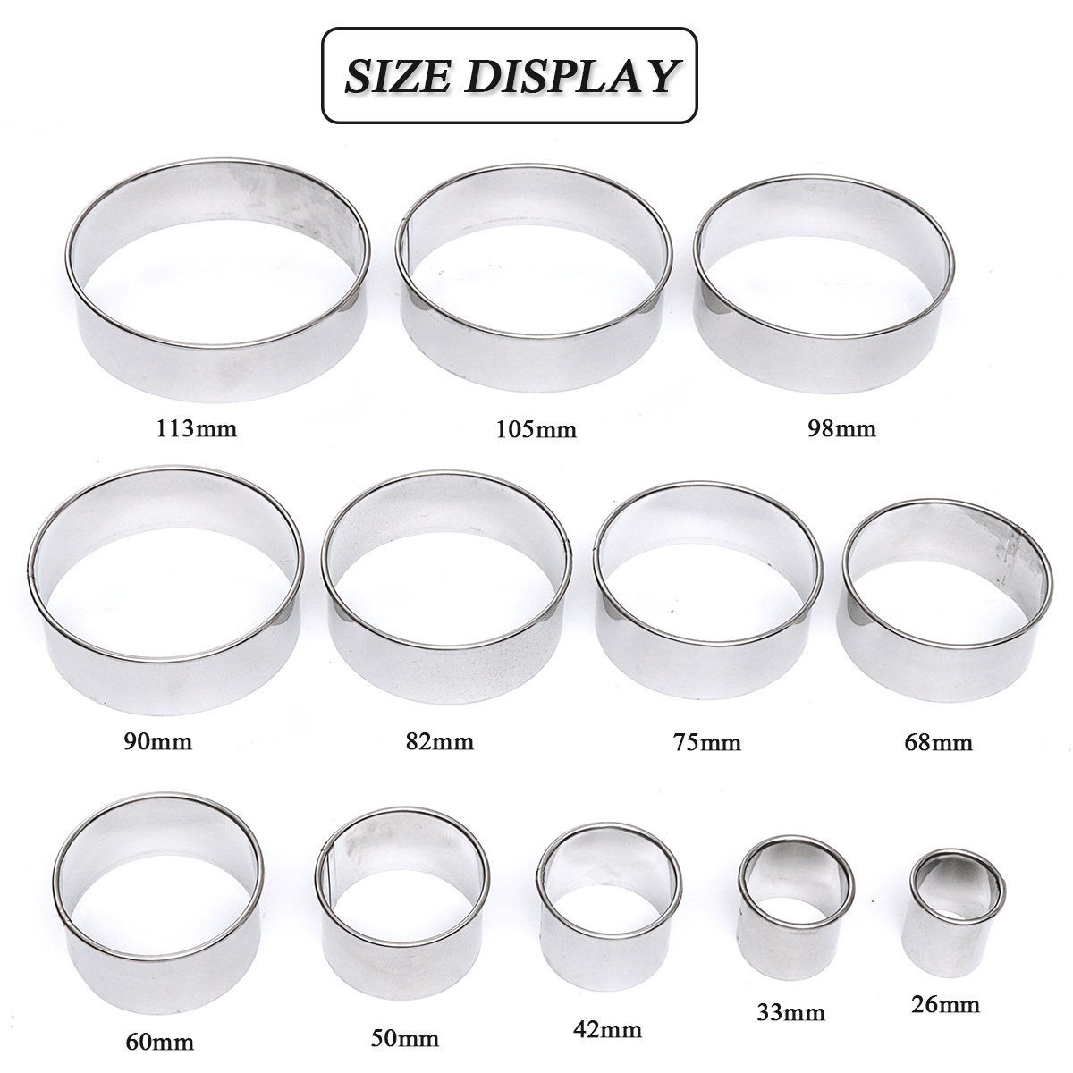 12Pcs DIY Round Stainless Steel Mousse Circle Ring Molds Cake Cookie Pastry Baking Cutter Mould Set