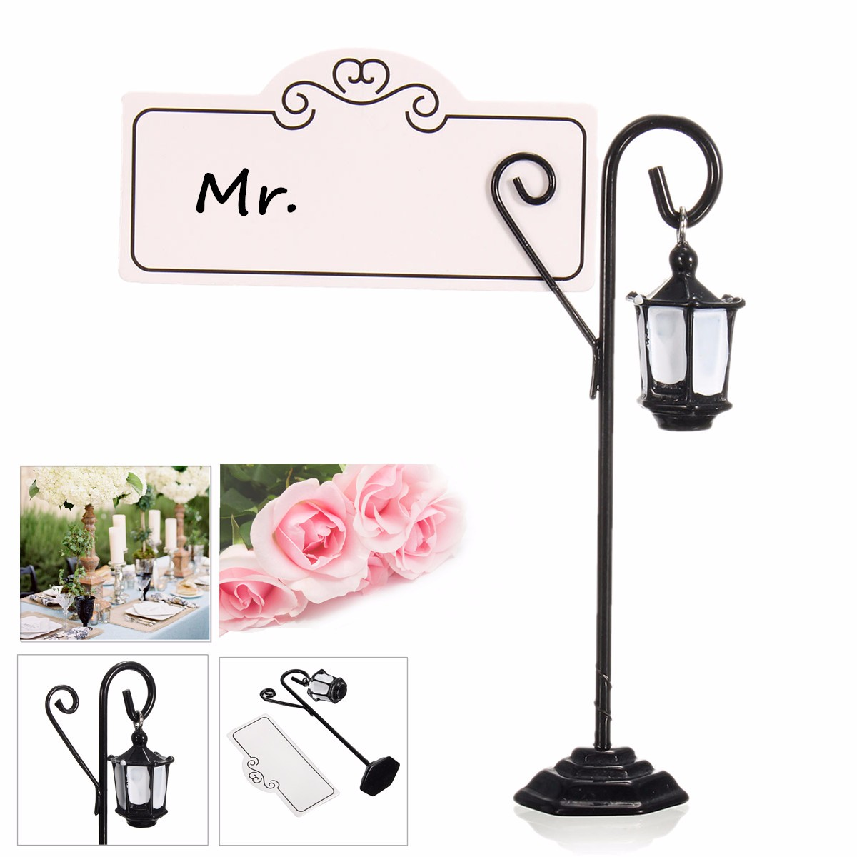 1 Pcs Metal Street Light Pattern Wedding Place Name Card Holder Party Gift Accessories