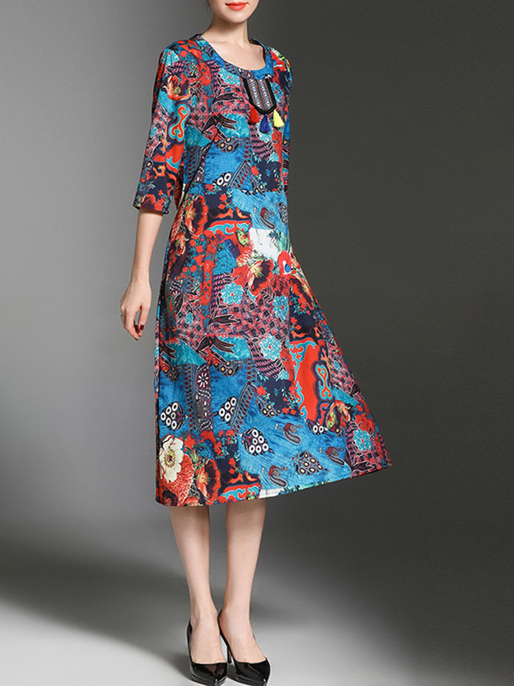 Vintage Women Flower Printed Half Sleeves O-neck Dress
