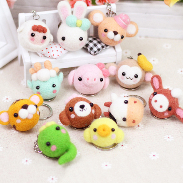 Creative 12 Chinese Zodiac Wool Felt Animals Keychain Wool Felting Needle Kits DIY Tools Craft Learner Design
