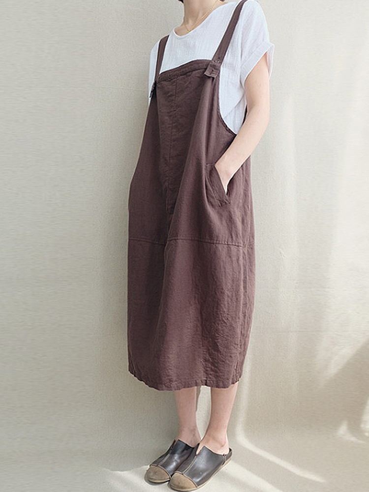 Cord Pocket Pinafore Dress