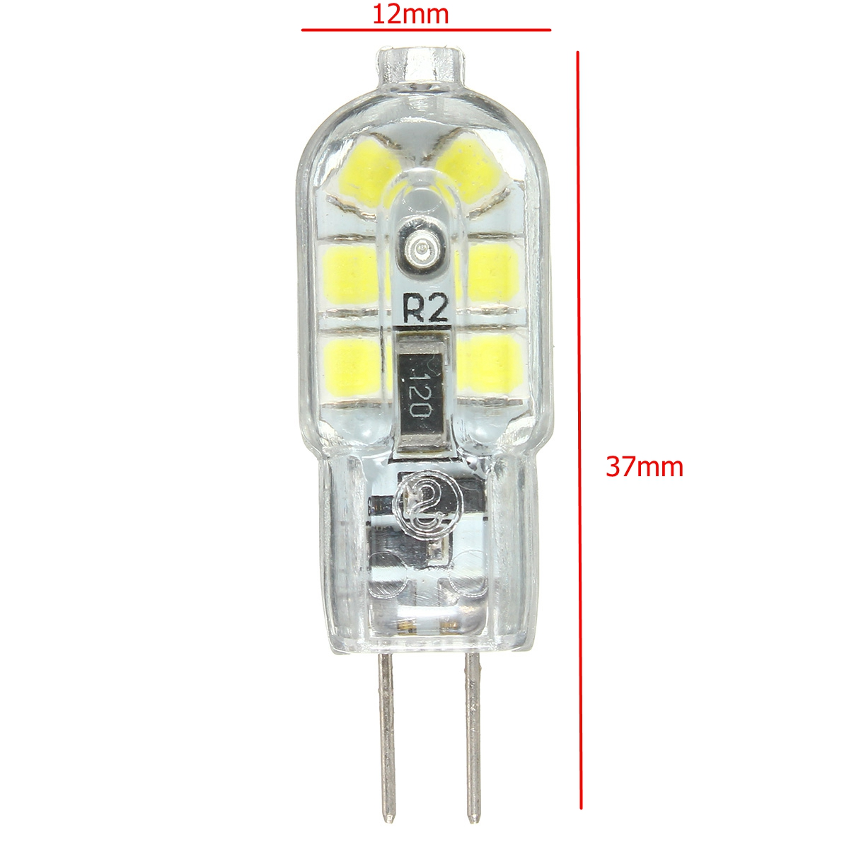 10PCS G4 2W 2835 Non-dimmable Cool White Transparent 12 LED Light Bulb for Indoor DC12V