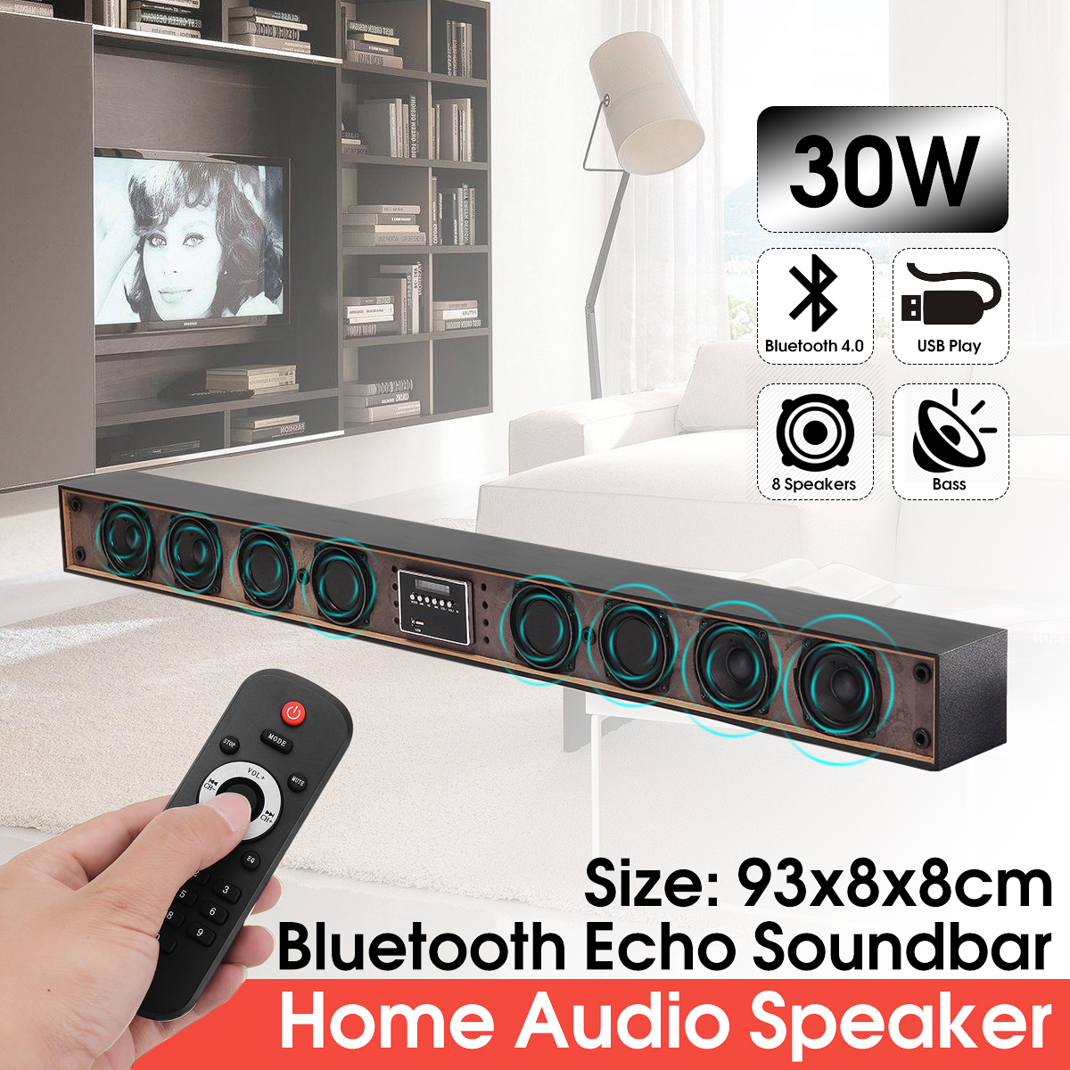 8 Drivers Wireless bluetooth Soundbar 3D Stereo Speaker Home Theater System Surrounding Sound