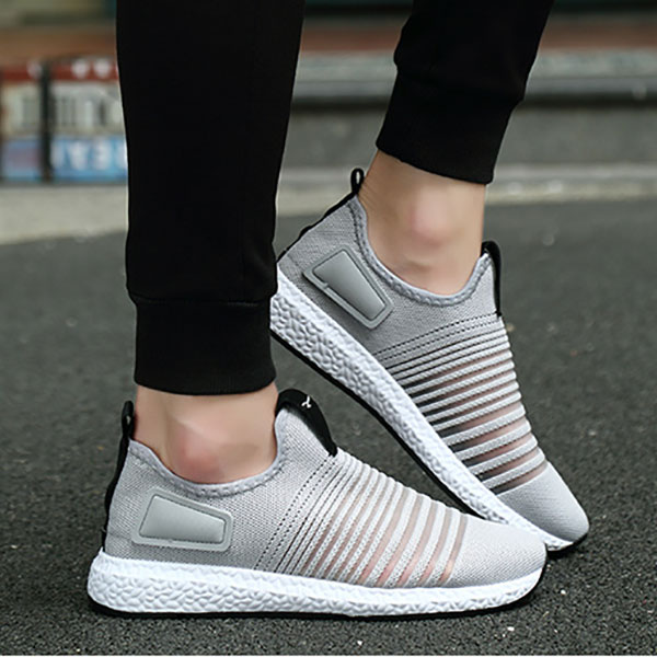Men Mesh Knit Slip On Casual Soft Sole Athletic Shoes