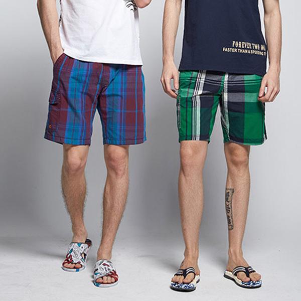 Summer Mens Casual Shorts Fashion Cotton Quick Drying Lattice Beach Shorts