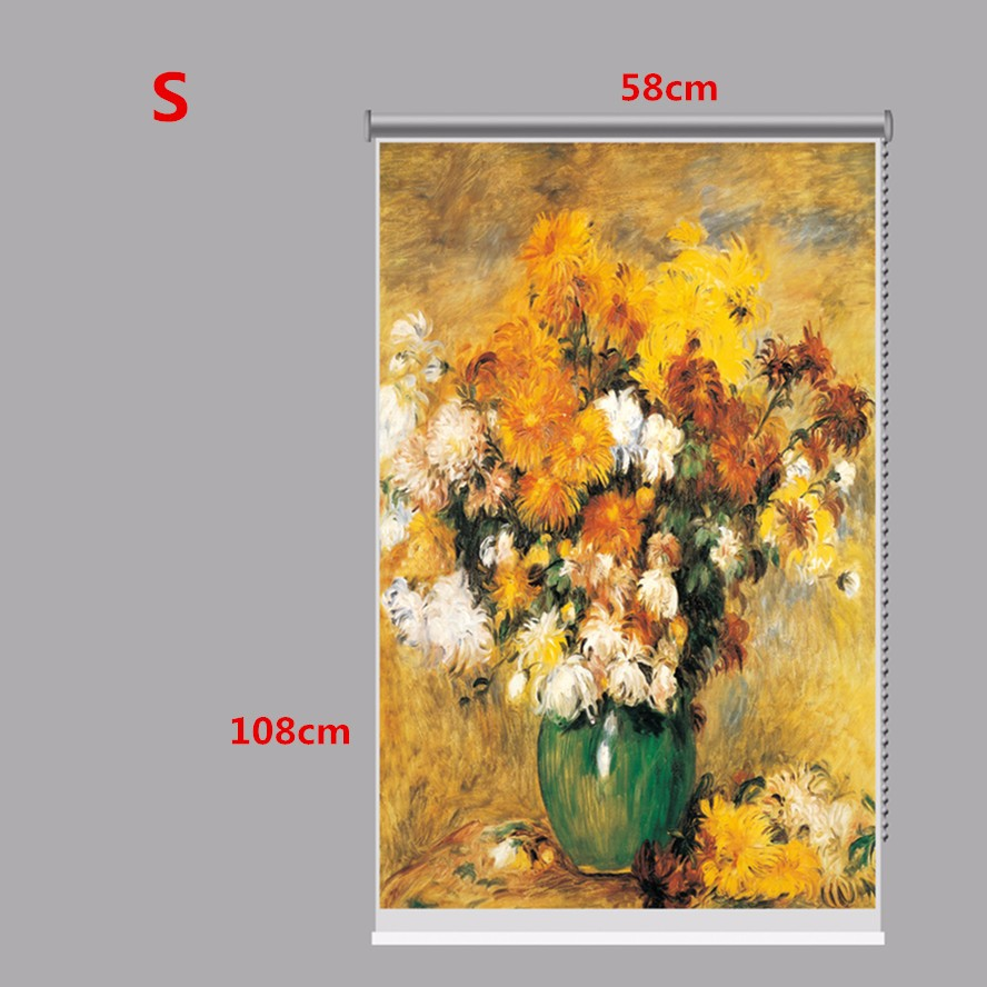PAG Wall Decor Window Curtain Roller Shutters Flower Oil Print Painting Roller Blind Background