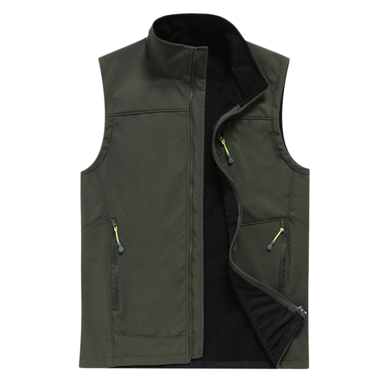 Mens Outdoor Stand Collar Solid Color Soft Shell Casual Vest