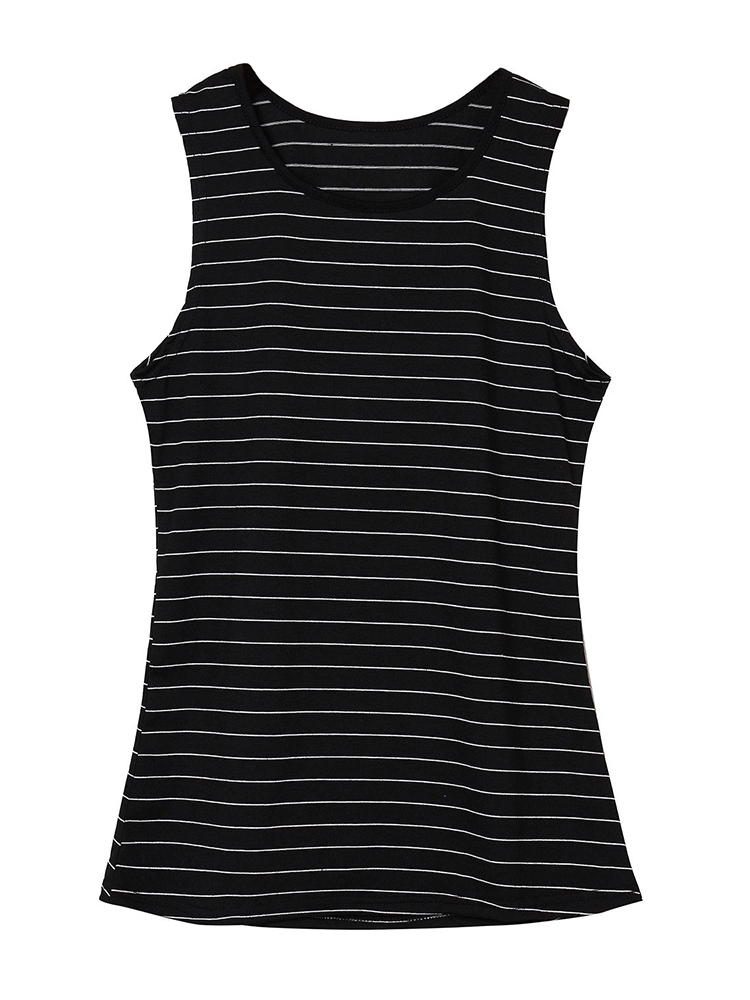 Sexy Women Striped O Neck Sleeveless Cotton Casual Vest Tank Top