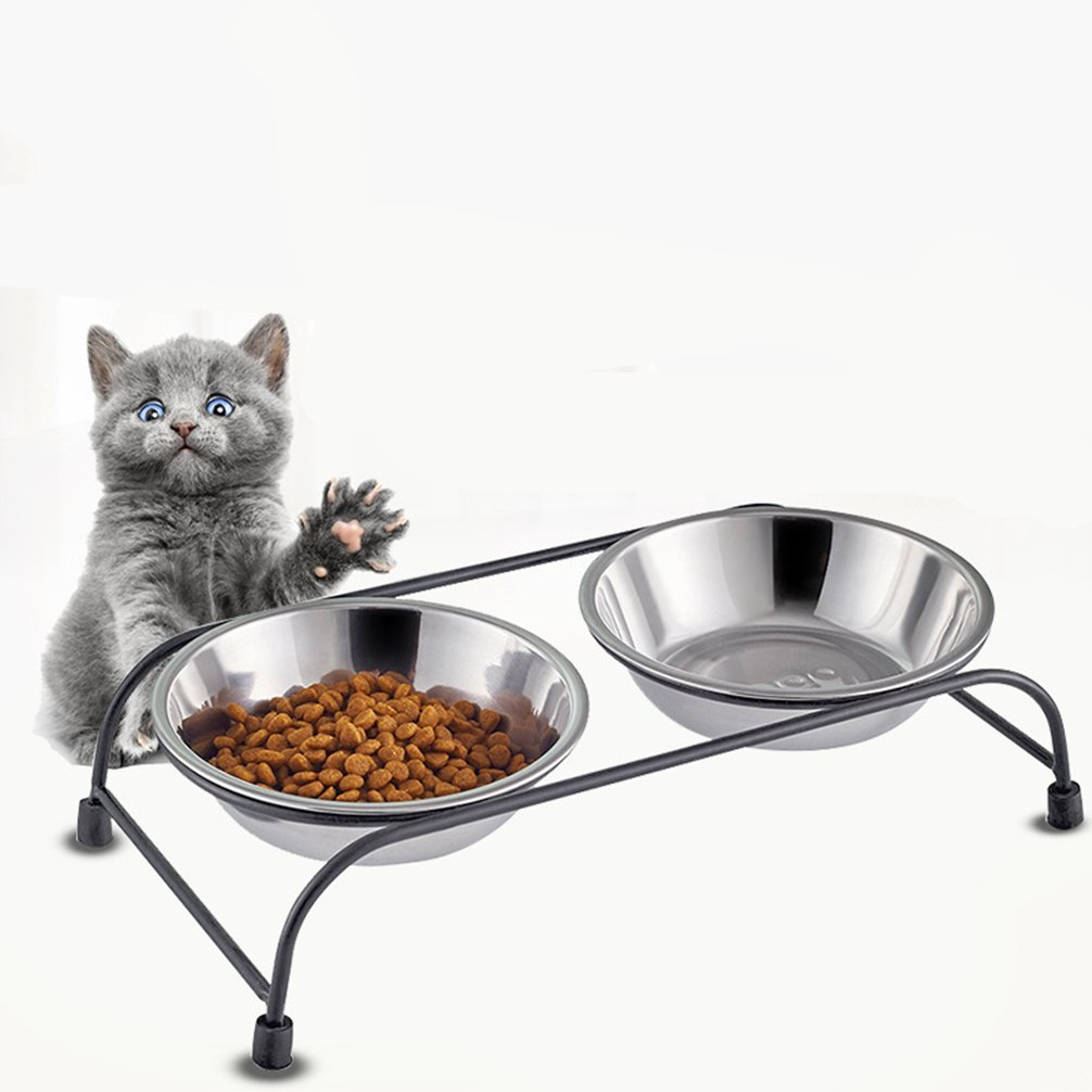 Stainless Steel Pet Bowl for Food and Water Bowls Pet Feeders Double Bowls Set Antique Metal Stand