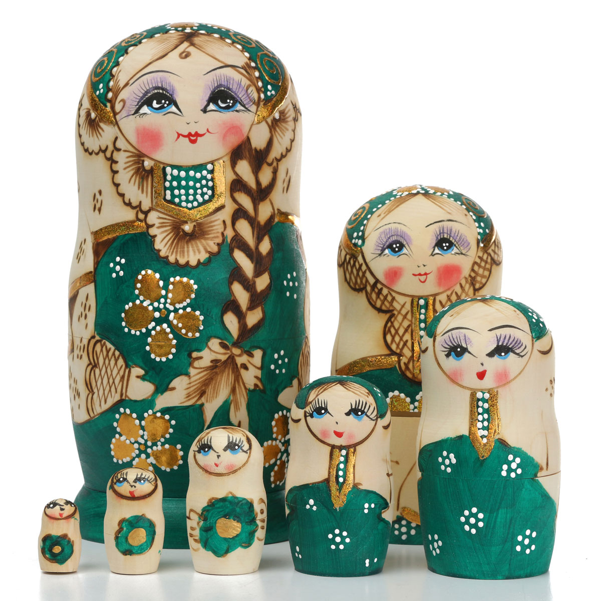 Russian Cute Basswood Nesting Dolls Traditional Hand Painted 7PCS