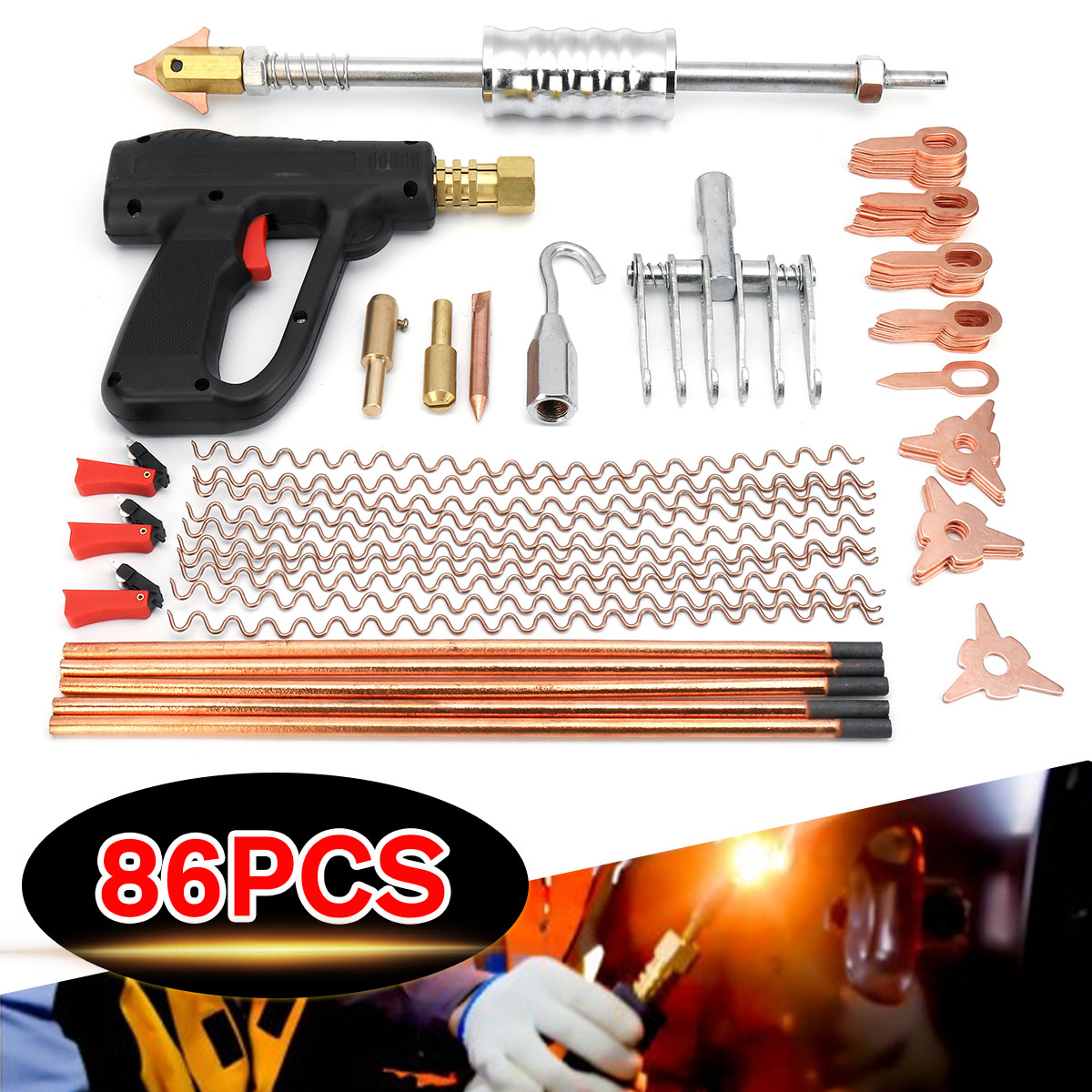 86Pcs Dent Puller Kit Car Body Dent Spot Repair Device Welder Stud Weld Welding Tools Kit