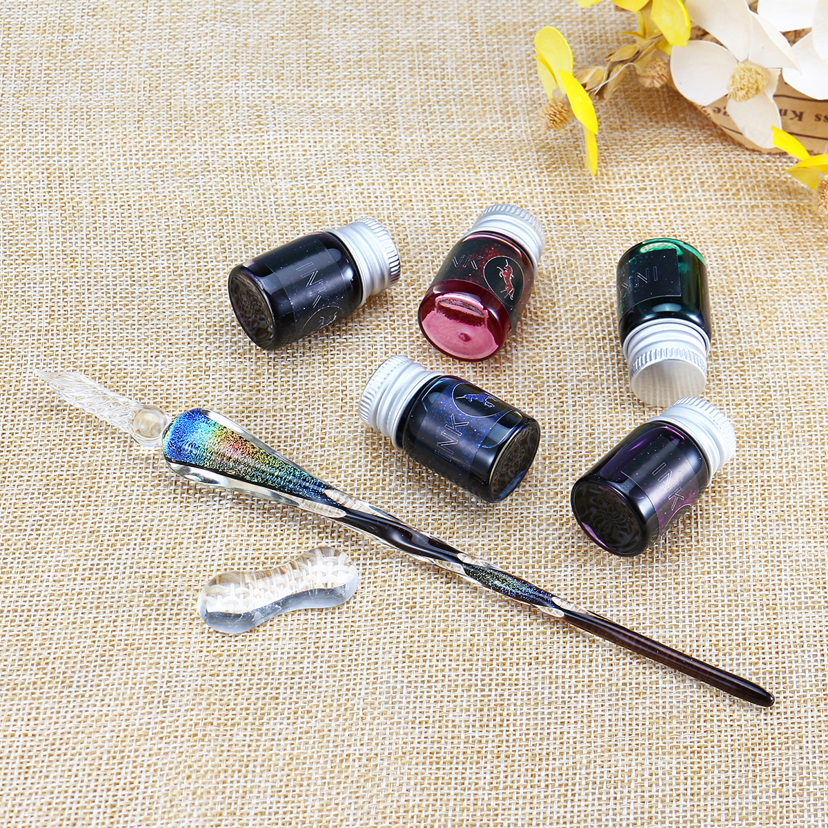 Crystal Glass Dip Pen Ink Set Signature Pen Vintage Handmade Glass Sign Pen Writing Tools