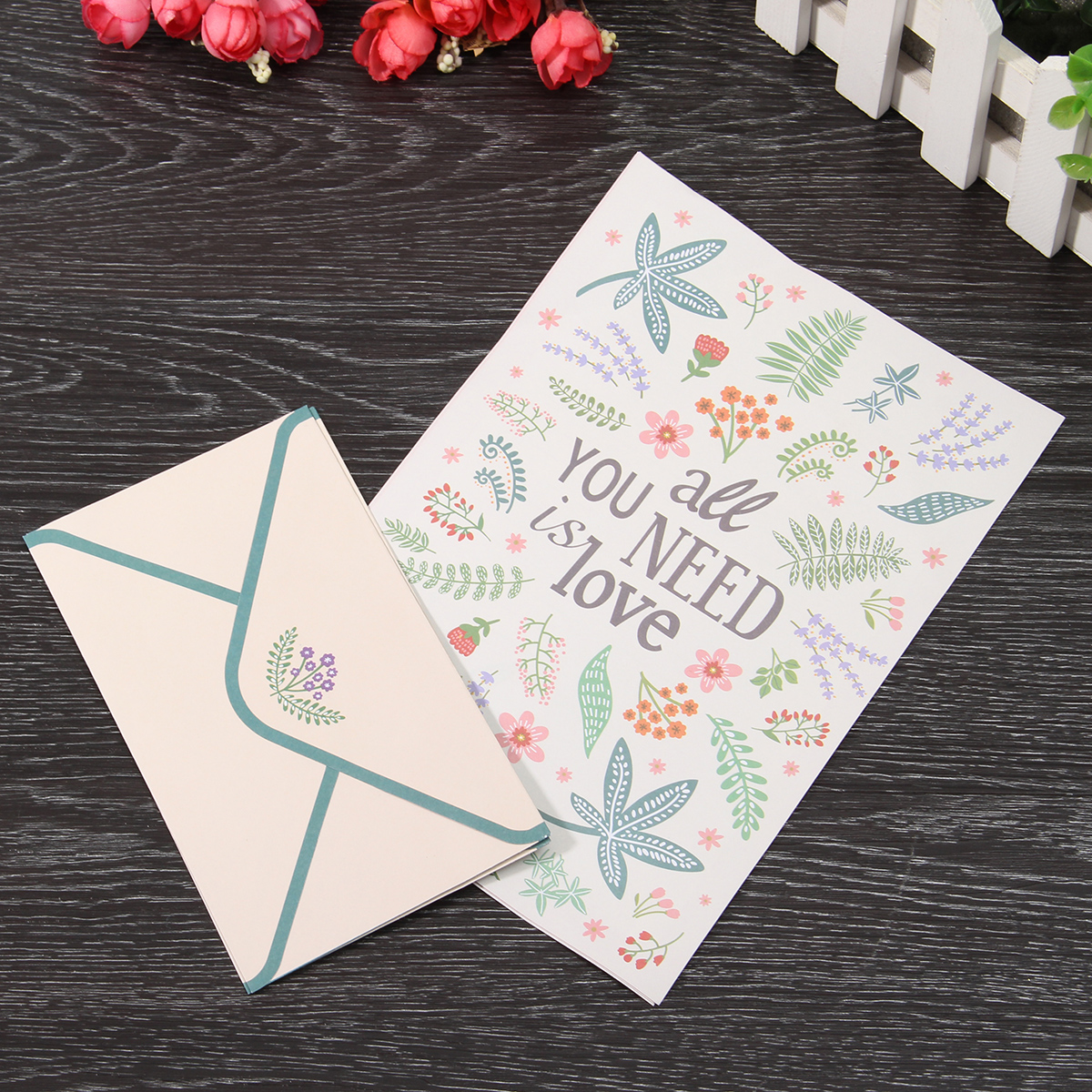 Cute Finely Flower Animal Letter pad Writing Paper Office School Supplie 4 paper and 2 envelopes Set