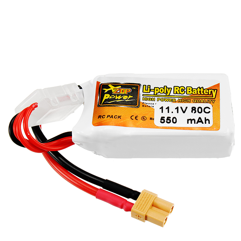 ZOP Power 11.1V 550mAh 80C 3S Lipo Battery XT30 Plug