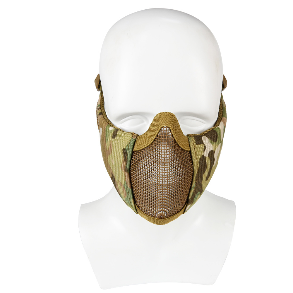 Steel Wire Mask Outdoor Hunting Breathable Tactical Mesh Half Face Protective Mask Earmuffs Version
