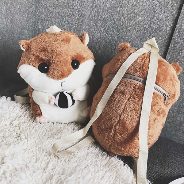 Cute Hamster Plush 3D Backpack Lovely Birthday Gift Warm Hand Bag Multifunction Bags for Trips