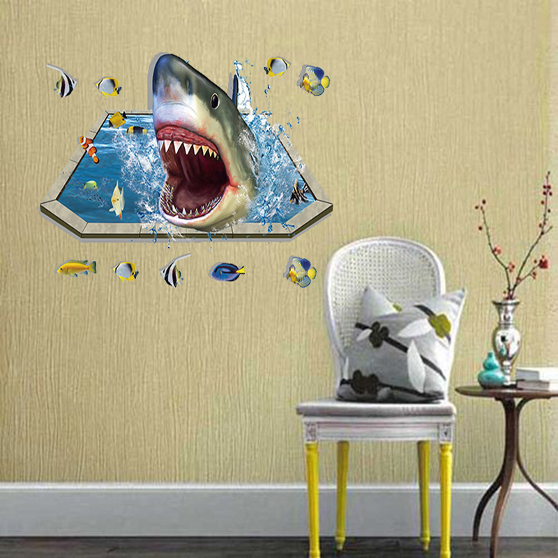 MIICO Creative 3D Sea Sharks Fish Removable Home Room Decorative Wall Floor Decor Sticker