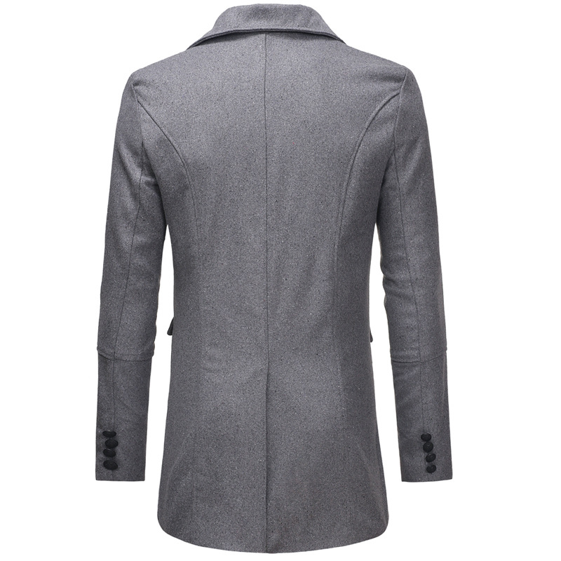 Mens Fit Woollen Double Breasted Mid Long Trench Coat
