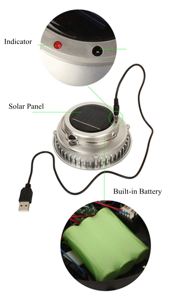 Portable Solar Power 3W COB LED Outdoor Camping Tent Light USB Rechargeable Hanging Lantern
