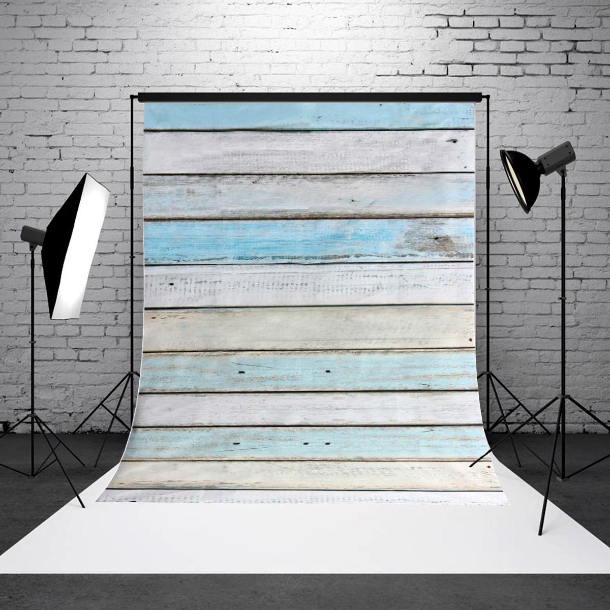 5x7FT Vinyl Retro Blue Wood Floor Photography Backdrop Background Studio Props