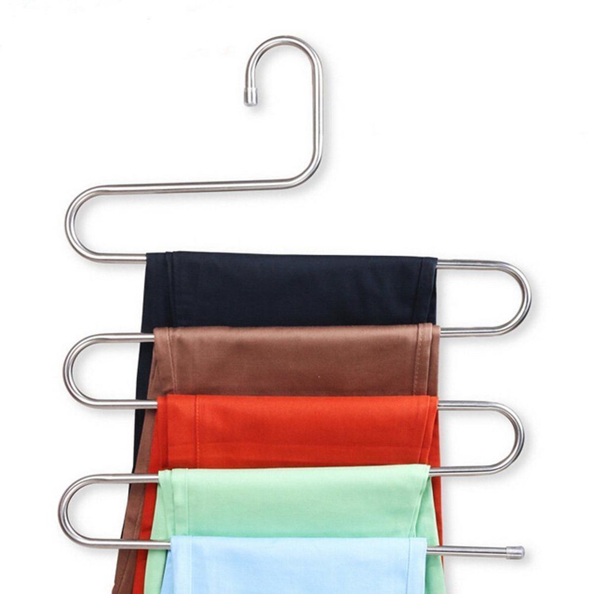 5 Strati Pantaloni Pantaloni appendiabiti Asciugamani Appendi abiti in tessuto Salvaspazio