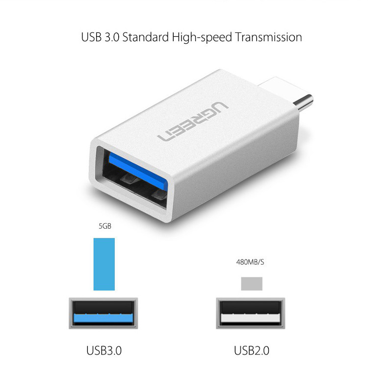 UGREEN Type-C Male to USB 3.0 Female OTG Data Sync Charge Adapter Converter