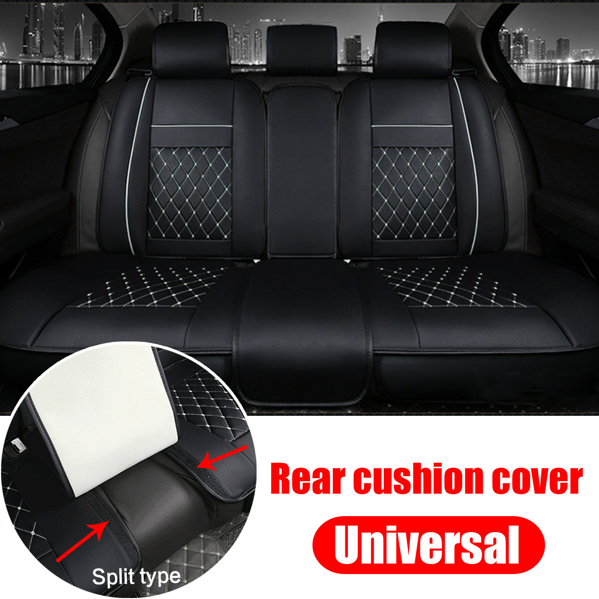 PU Leather Split Type Car Rear Seat Cushion Universal for 5 Seat Car Black and White