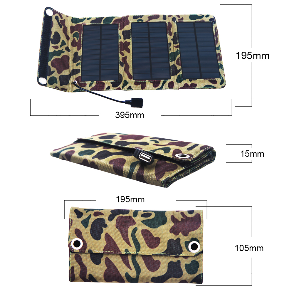 5W USB Folding Solar Panel Outdoor Portable Charger Power Bank For Mobile Phone