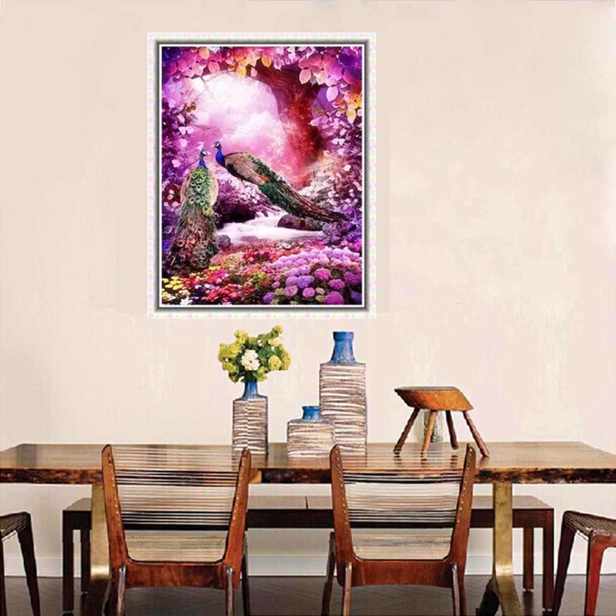 5D Peacock & Tree Flower Diamond Rhinestone Embroidery Painting Cross Stitch Home Decor