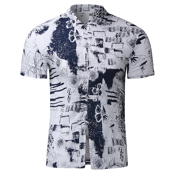 Hand Painting National Style Tang Suit Cotton Linen Stand Collar Shirt