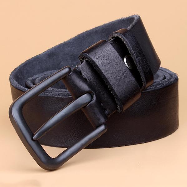 125CM Mens Casual Genuine Leather Belt Vintage Alloy Pin Buckle Jeans Belt Strap