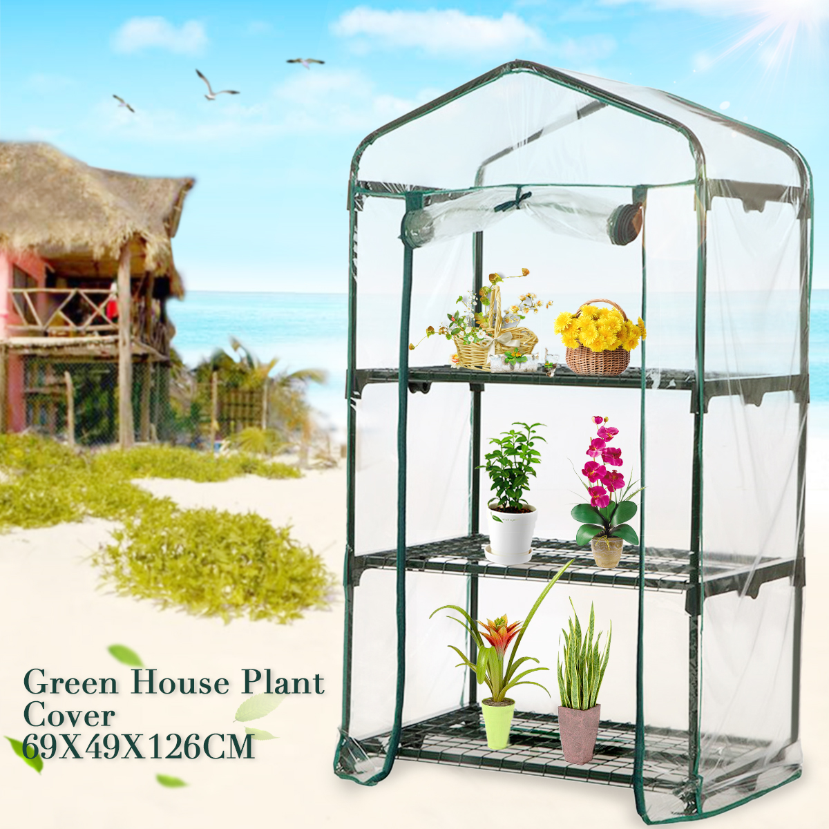 69x49x126cm Apex Roof 3-Tiers Garden Greenhouse Hot Plant House Shelf Shed Clear PVC Cover
