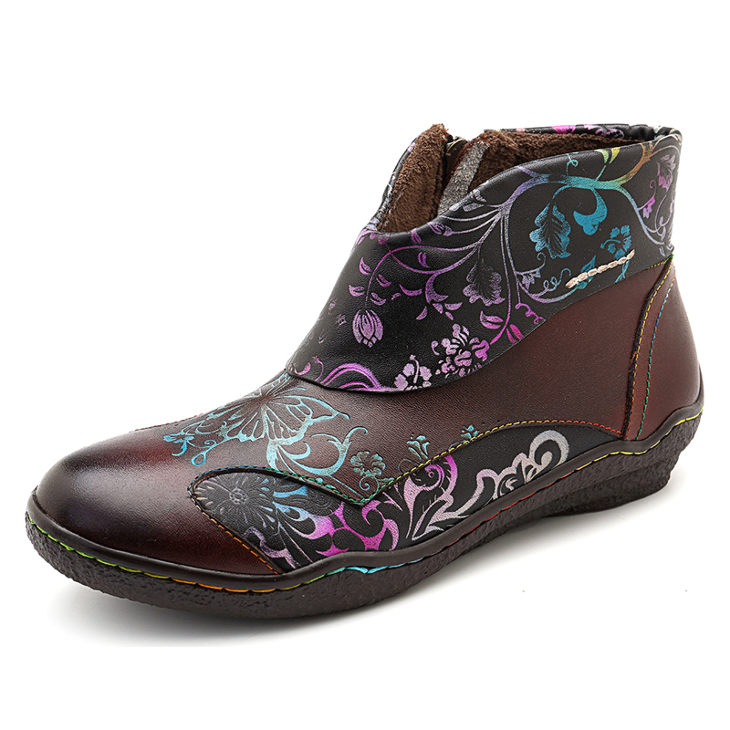 SOCOFY Casual Printing Pattern Boots