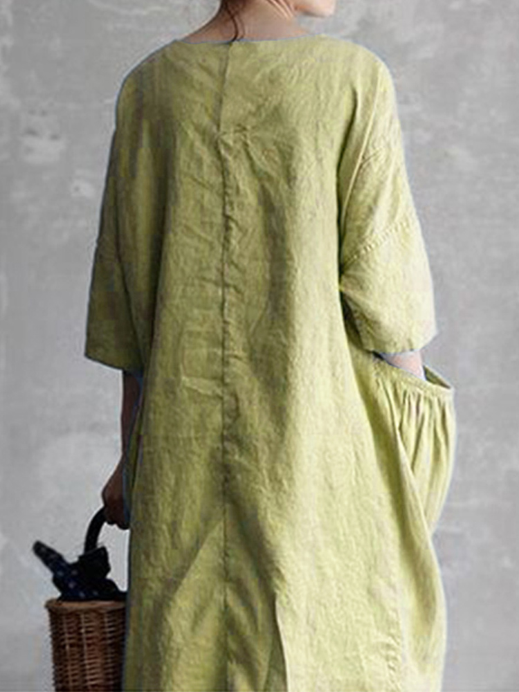 Women Casual Loose Baggy Pocket 3/4 Sleeve Dress