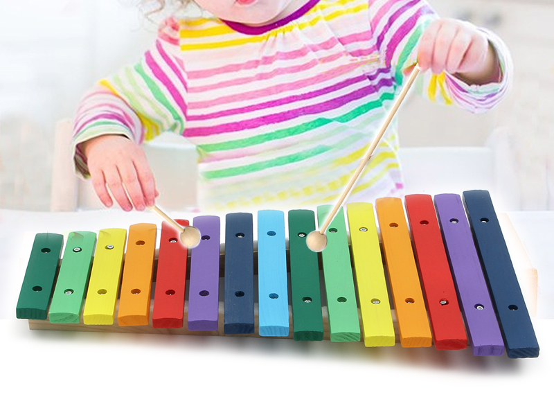 15 Tone Colorful Wooden Glockenspiel Xylophone Educational Percussion Musical Instrument Toy